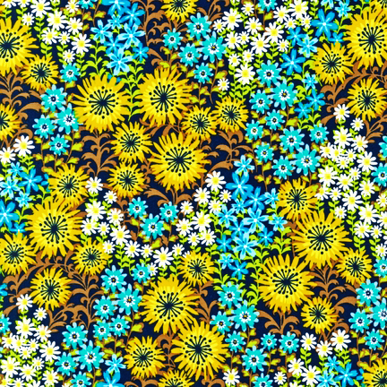 Just Dandy - Blue Jay - Blue & Yellow Flowers on Brown
