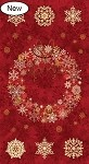 Stonehenge Starry Night 2 - Cranberry Wreath Panel with Gold Metallic Accents
