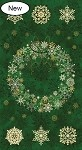 Stonehenge Starry Night 2 - Evergreen Wreath Panel  with Gold Metallic Accents