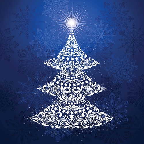 Gradients Holiday Digitally Printed Christmas Tree Panel - Ice - 57'' x 57''