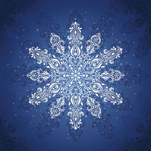 Snowflake Gradients Holiday Digitally Printed Panel - Ice - 57'' x 57''