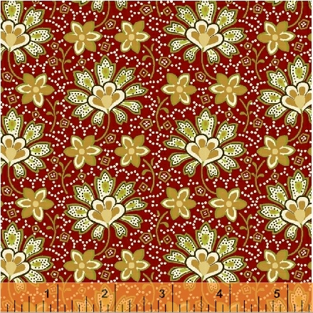 Crazy for Shelburne - Cream Flowers on Burgundy