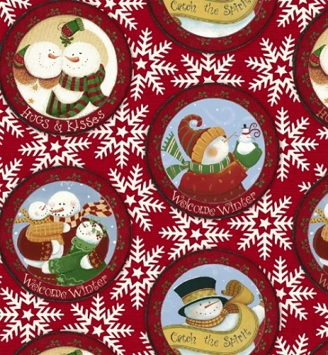 Let It Snow-Windham - Snowglobe Snowmen on Red