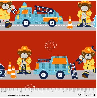 Off To The Rescue - Firetruck - Border Strip - Red