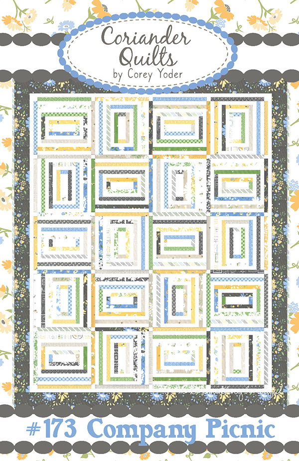 Company Picnic Quilt Pattern - 71'' x 86'' - Honey Bun Friendly FREE with purchase of 2 Honey Buns