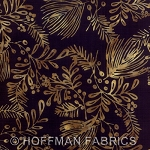 Seasonal Hand-Painted Bali Batiks - Onyx - Boughs
