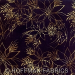 Seasonal Hand-Painted Bali Batiks - Poinsettia - Onyx