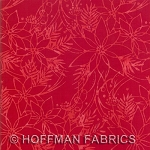 Seasonal Hand-Painted Bali Batiks - Poinsettia - Cherry