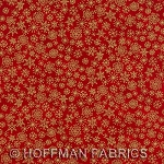 Hoffman - Blender -  Gold Metallic Snowflakes on Red