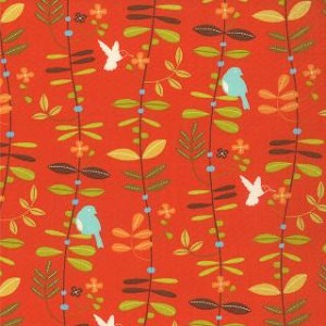 Wrens & Friends - Floral Leaves - Orange - Gina Martin for Moda Fabrics yardage - Fabric is Directional - Full Cuts only