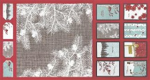 Winter's Lane Holiday Panel - Berry by Kate & Birdie for Moda Fabrics - 23'' x 44''