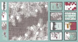 Winter's Lane Holiday Panel - Mint by Kate & Birdie for Moda Fabrics - 23'' x 44''