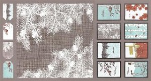 Winter's Lane Holiday Panel - Grey by Kate & Birdie for Moda Fabrics - 23'' x 44''