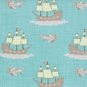 Storybook - Pirate Ships & Planes - Aqua - Kate & Birdie Paper Co. for Moda Fabrics - 3 yds remaining - Sold as one piece
