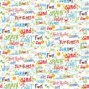 Celebrate Summer Words - Multi on White by Dana Brooks for Henry Glass Fabrics  yardage - This fabric is directional