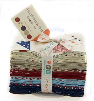 Red, White & Free Fat Eighth Bundle includes 30 fat eighths - 9'' x 21'' - By Sandy Gervais for Moda Fabrics