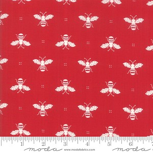 My Redwork Garden Honey Bees - Red by Bunny Hill Designs for Moda Fabrics yardage