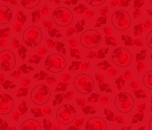 The Elf on the Shelf - Tonal Character Heads - Red  - Quilting Treasures yardage - 2.125 remaining - Sold as one piece
