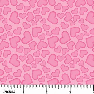 Pink on Pink Hearts by Northcott Fabrics - 3 yds remaining - sold as one piece