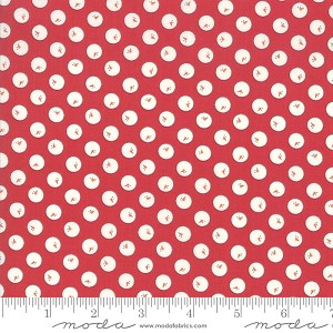 Country Christmas Snowballs - Cardinal Red by Bunny Hill Designs for Moda Fabrics yardage