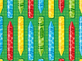 Crayola - Ready, Set Color! - 2 Way Crayons - Green - Quilting Treasures Fabrics yardage - 4.75 yds remain - sold as one piece