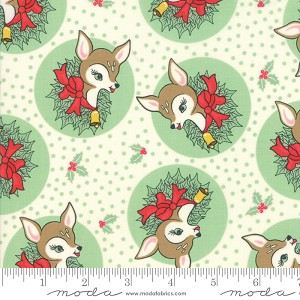 Deer Christmas Polka Dot Deer - Spearmint by Urban Chiks for Moda Fabrics yardage