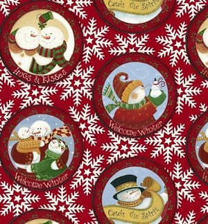 Let It Snow -Snowglobe Snowmen -  Karen Crudin for Windham Fabrics yardage - This fabric is directional - 3.125 yds remain - sold as one piece