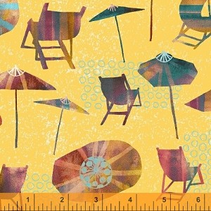 Sunnyside - Beach Chairs & Unbrellas - Yellow - Sara Franklin for Windham Fabrics yardage