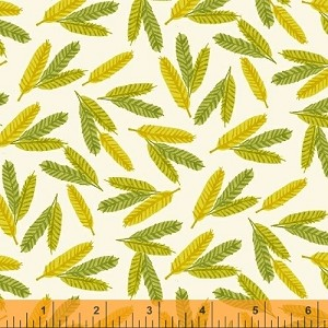 Flower Pedals Tossed Feathers - Chartreuse by Carolyn Gavin - 100% Organic Cotton