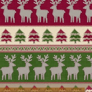 Craft Paper Christmas Sweater Stripe Border - Red & Green - by Whistler Studios for Windham Fabrics yardage