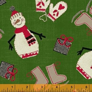 Craft Paper Christmas Tossed Snowmen - Green - by Whistler Studios for Windham Fabrics yardage