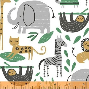 Wild About You Tossed Safari Animals - White by Another Point of View for Windham Fabrics yardage - Fabric is directional