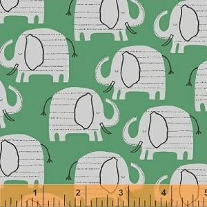 Wild About You Elephant Walk - Mint by Another Point of View for Windham Fabrics yardage - Fabric is directional