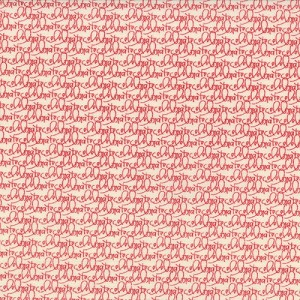 Wishes - Celebrate Words - Red Writing on White - Sweetwater for Moda Fabrics yardage - 3 yds remaining - sold as one piece