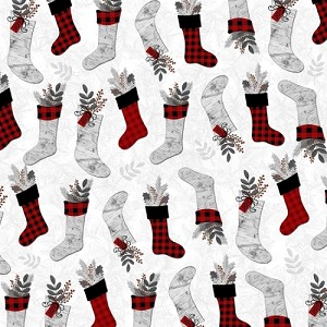 Holiday Homecoming  Stockings - Allover Print - White/Multi by Jan Shade Beach for Henry Glass Fabrics yardage