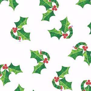 The Very Hungry Caterpillar Christmas - Holly Leaves - White - Eric Carle for Andover Fabrics yardage - 3.875 yds remain - must leave min. 1 yd on bolt