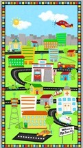 "Zip Zoom - City Panel - 23"" x 44"" - Viv Eisner for Wilmington Prints yardage"