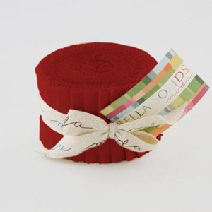 "Bella Solids Red JUNIOR Jelly Roll includes 20  2.5"" strips of the same color - SKU 9900 16"