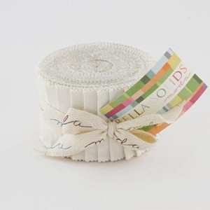 "Bella Solids White JUNIOR Jelly Roll includes 20  2.5"" strips of the same color - SKU 9900 98"