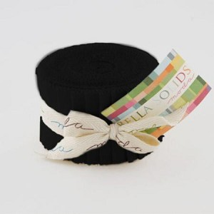 "Bella Solids Black JUNIOR Jelly Roll includes 20  2.5"" strips of the same color - SKU 9900 99"