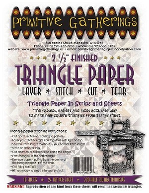 2 1/2'' Finished Triangle Paper in Strips and Sheets includes 15 sheets which makes a total of 360 Half Square Triangles.
