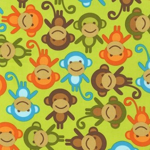 Urban Zoologie Tossed Monkeys - Bermuda by Ann Kelle for Robert Kaufman Fabrics yardage
