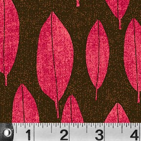 Always Blooming - Floating Leaves - Br. Pink on Brown - Susy Pilgrim Waters for P&B Textiles Yardage - 3.75 remaining - sold as one piece