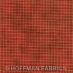 Gold Metallic on Scarlet - Hoffman Fabrics yardage - 2.5 yds remain - Must leave min. 1 yd on bolt