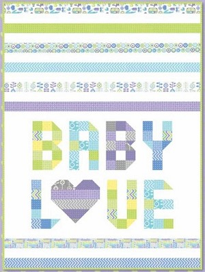 "Baby Love FREE Mfg. Quilt Pattern by Moda Fabrics features From Bump to Baby Jelly Roll plus yardage by Gina Martin for Moda - 40"" x 54"""