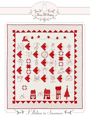"I Believe in Snowmen Quilt Pattern -  56"" x 64"" - Bunny Hill Designs for Moda Fabrics - See Below for Fabric Requirements"