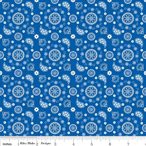 Star Spangled Bandana - Blue - Doodlebug Designs for Riley Blake Designs yardage - 2.66 yds remain - sold as one piece