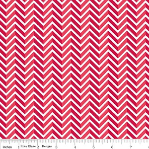 Star Spangled Chevron - Red - Doodlebug Designs for Riley Blake Designs yardage - 2.625 remaining - sold as one piece