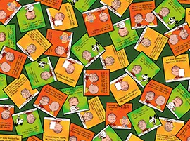 Welcome Great Pumpkin - Tossed Cards on Green - Charles Schulz for Quilting Treasures Fabrics yardage