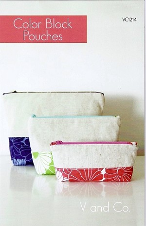 "Color Block Pouches Quilt Pattern - 3 Sizes: Large: 9 1/2"" x 7"",  Medium: 8 1/2"" x 5"",  Small: 7 1/2"" x 3"""